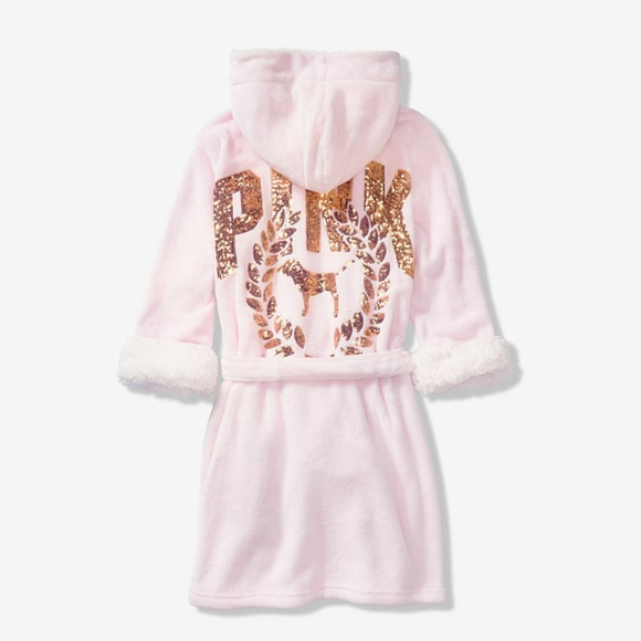 PINK Victoria's Secret Other - M/L new VS PINK BLING COZY PLUSH SHORT hoodie ROBE